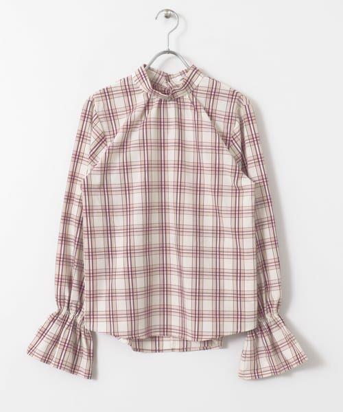 KBF / ケービーエフ シャツ・ブラウス | スタンドネックチェックシャツ(PURPLE)