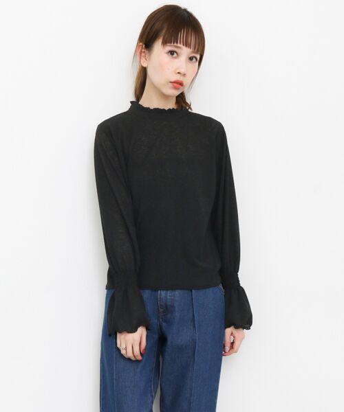 KBF / ケービーエフ Tシャツ | 楊柳ハイネックブラウス(BLACK)