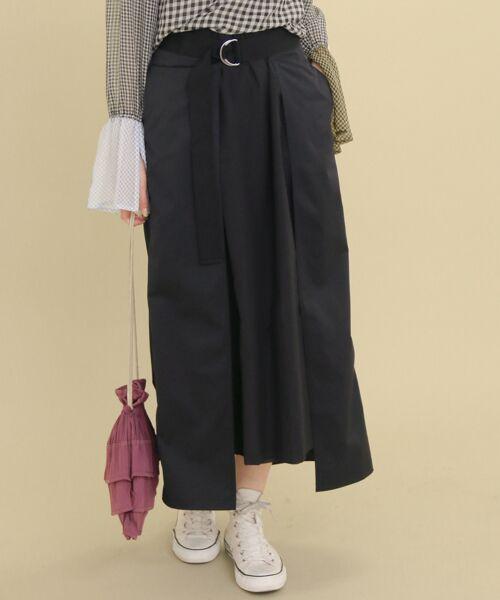KBF / ケービーエフ スカート | ラップレイヤードスカート(BLACK)