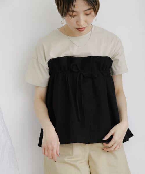 KBF / ケービーエフ Tシャツ | ドッキングビスチェカットソー(BLACK)