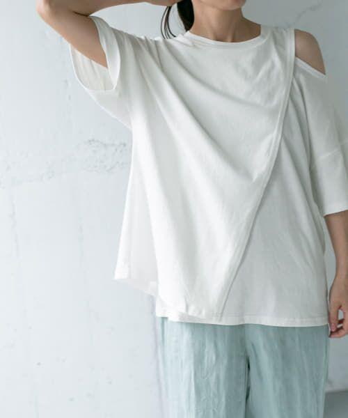 KBF / ケービーエフ Tシャツ | オープンショルダーアシンメトリーTシャツ(WHITE)