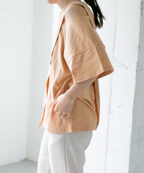 KBF / ケービーエフ Tシャツ | オープンショルダーアシンメトリーTシャツ(L.CORAL)