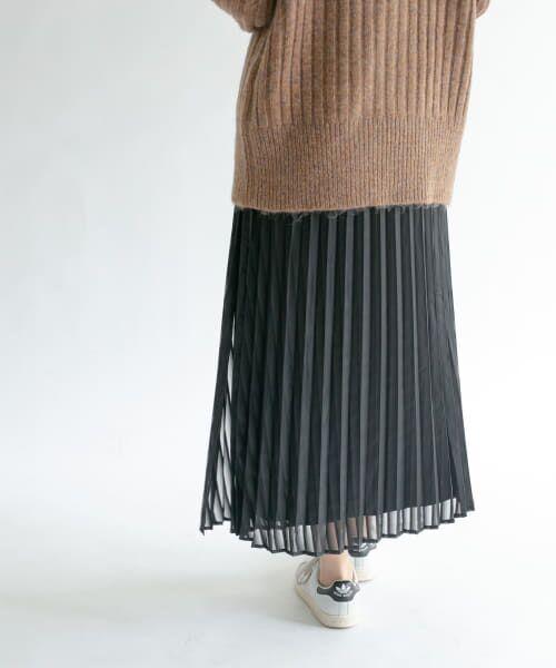 KBF / ケービーエフ スカート   シアーラッププリーツスカート(BLACK)