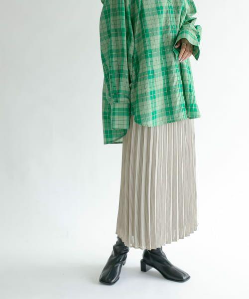 KBF / ケービーエフ スカート   シアーラッププリーツスカート(GREIGE)