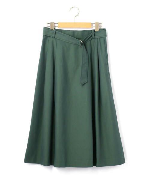 KEITH Lサイズ / キースエルサイズ ミニ・ひざ丈スカート | コットンシャンブレー スカート(グリーン)