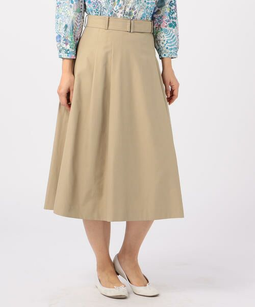 KEITH Lサイズ / キースエルサイズ ミニ・ひざ丈スカート | コットンシャンブレー スカート(ベージュ)