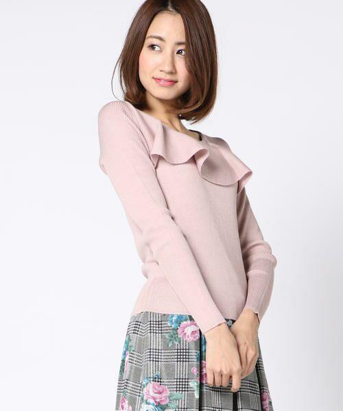 ketty / ケティ ニット・セーター | 胸元ラッフルデザイン長袖ニットプルオーバー(ピンク)