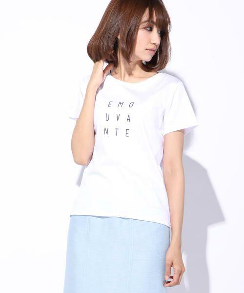ketty / ケティ カットソー | 【洗濯可能】Funcs Coolリヨセル綿スムースロゴTシャツ<EMOUVANTE>(オフ)