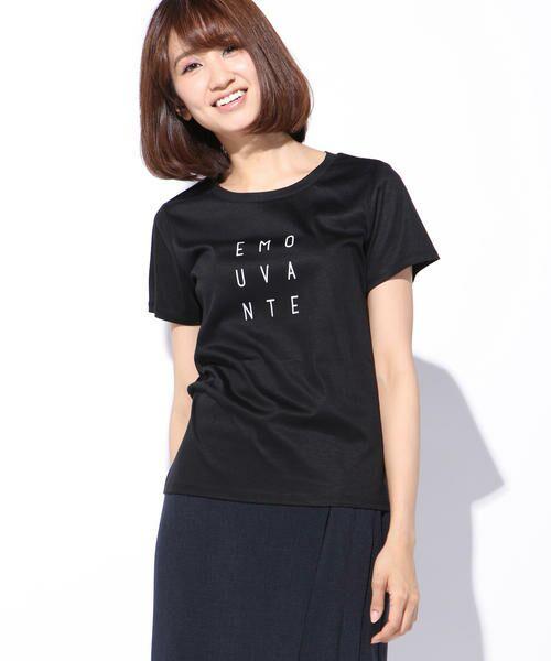 ketty / ケティ カットソー | 【洗濯可能】Funcs Coolリヨセル綿スムースロゴTシャツ<EMOUVANTE>(ブラック)