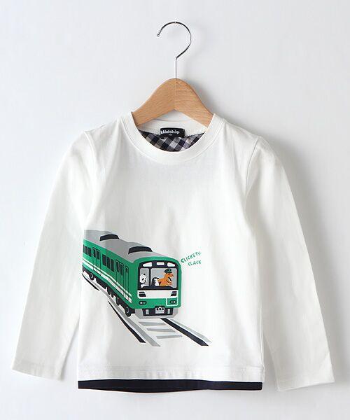 kladskap / クレードスコープ カットソー   電車プリントTシャツ(オフホワイト)