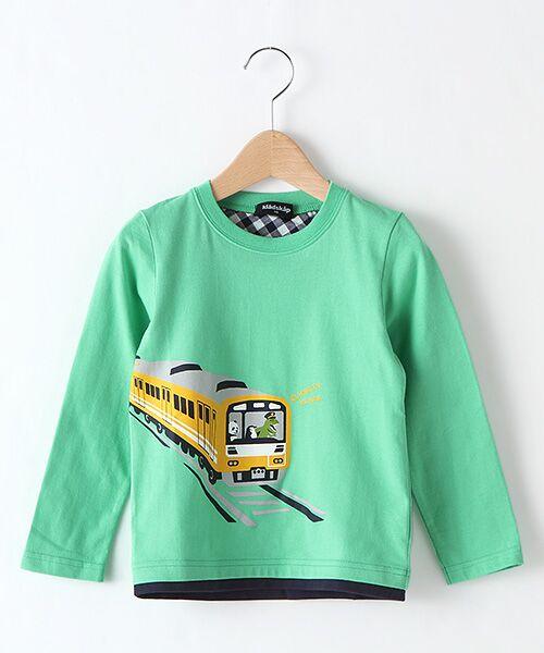 kladskap / クレードスコープ カットソー   電車プリントTシャツ(グリ-ン)