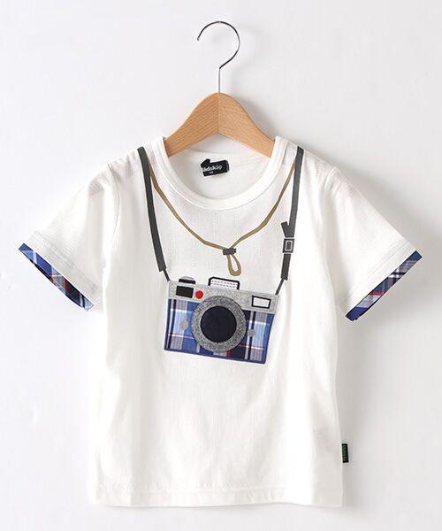 kladskap / クレードスコープ Tシャツ | カメラアップリケ半袖Tシャツ(オフホワイト)