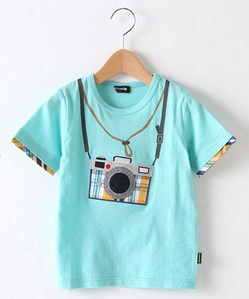 kladskap / クレードスコープ Tシャツ | カメラアップリケ半袖Tシャツ(エメラルドグリーン)