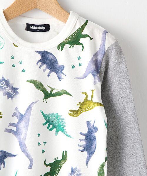 kladskap / クレードスコープ Tシャツ | ステンシル風恐竜柄切り替えTシャツ | 詳細2
