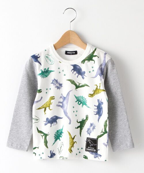 kladskap / クレードスコープ Tシャツ | ステンシル風恐竜柄切り替えTシャツ(オフホワイト)