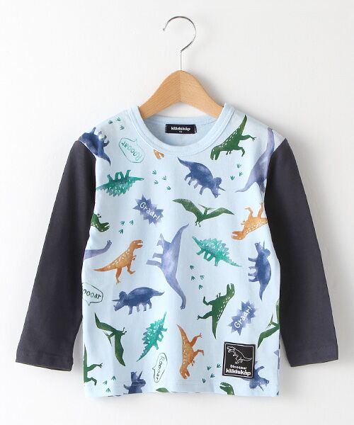 kladskap / クレードスコープ Tシャツ | ステンシル風恐竜柄切り替えTシャツ(サックス)