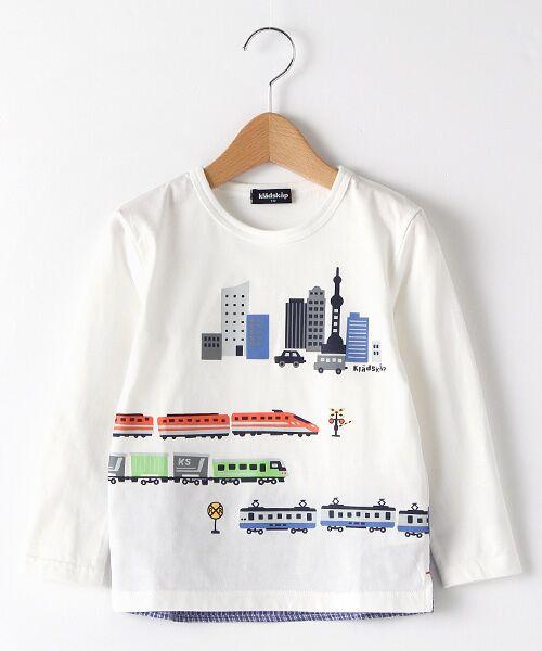 kladskap / クレードスコープ Tシャツ   抗菌防臭 街と電車プリントバック切り替えTシャツ(オフホワイト)