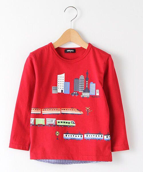 kladskap / クレードスコープ Tシャツ   抗菌防臭 街と電車プリントバック切り替えTシャツ(アカ)