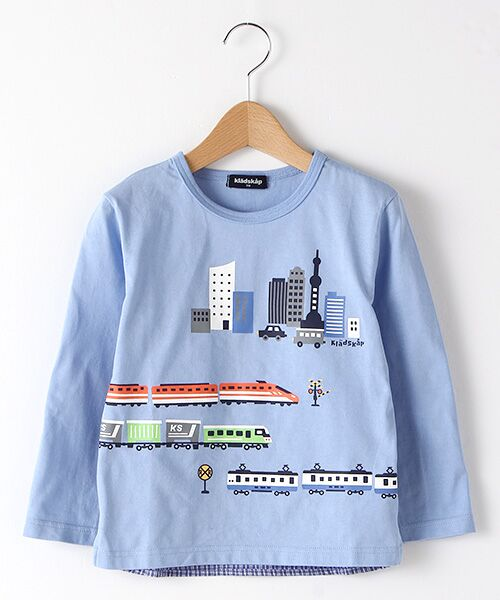 kladskap / クレードスコープ Tシャツ   抗菌防臭 街と電車プリントバック切り替えTシャツ(L・ブル-)