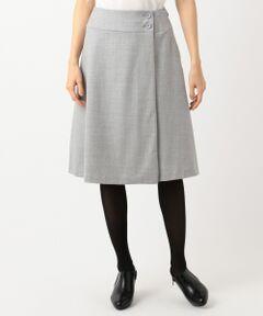 【洗える】ウールハイカウントフラノ スカート