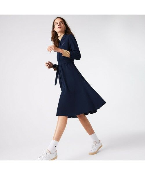 LACOSTE / ラコステ ミニ丈・ひざ丈ワンピース | ベルトデザインポロシャツドレス(ネイビー)