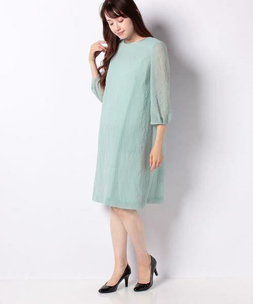 La Festa chic / ラフェスタシック ドレス | ちりめんエンボス加工 袖付ドレス(グリーン)