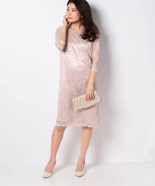 La Festa chic / ラフェスタシック ドレス | ラメ入りコードレース ドレス(ピンク)