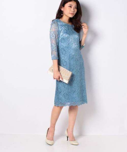 La Festa chic / ラフェスタシック ドレス | ラメ入りコードレース ドレス(ブルー)