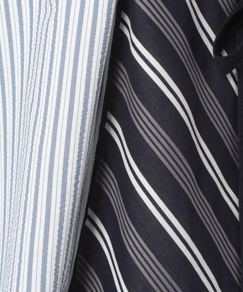LANVIN en Bleu / ランバン オン ブルー ミニ丈・ひざ丈ワンピース | ストライプMIXドッキングワンピース | 詳細7