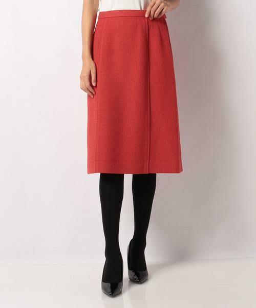 LAPINE BLANCHE / ラピーヌ ブランシュ ミニ・ひざ丈スカート | ウールループツイードスカート(オレンジ)