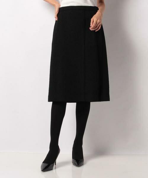 LAPINE BLANCHE / ラピーヌ ブランシュ ミニ・ひざ丈スカート | ウールループツイードスカート(ブラック)