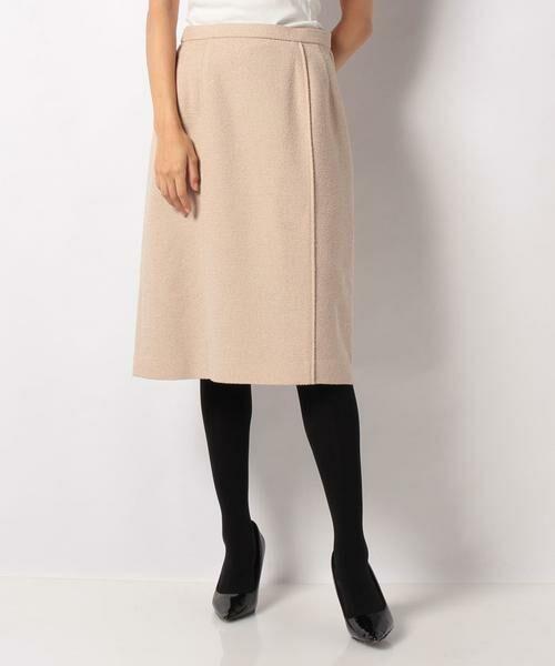 LAPINE BLANCHE / ラピーヌ ブランシュ ミニ・ひざ丈スカート | ウールループツイードスカート(ベージュ)