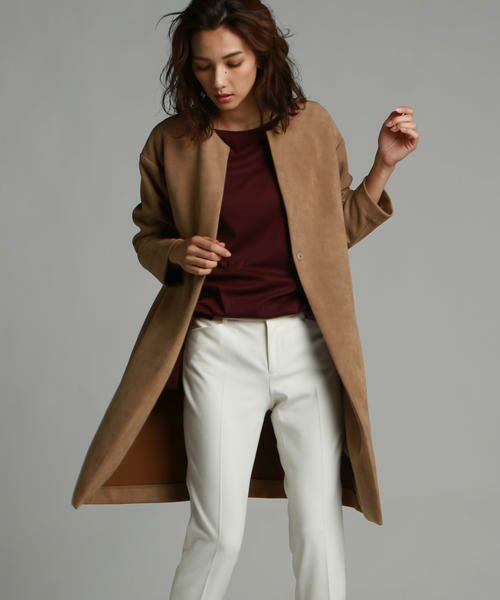ドロップショルダーでもすっきりとしたボディラインできれいに見えるおすすめコート。