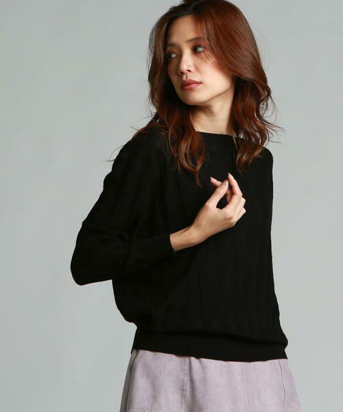 LAUTREAMONT / ロートレアモン ニット・セーター   凹凸のあるストライプ柄ニットプルオーバー(ブラック)