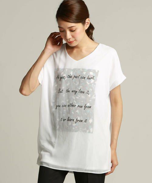 LAUTREAMONT / ロートレアモン Tシャツ | 【J Lounge別注】ボリューム感のあるきれい目Tシャツ  モノグラム(ホワイト)