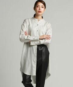 【デザインポイント】<br><br>トレンドのバンドカラーのシャツはエフォートレスに感じさせるロング丈に長めのスリット。胸周りを切り替えたブザムシャツ仕様でクラシカルに。上質なキュプラ素材なのでモードになり過ぎずマスキュリンフェミニンに着こなせる一枚。<br><br>【おすすめコーディネート】<br><br>3110-85132フレアパンツや3110-85154のレザーパンツなど、細身のボトムとの相性がよくトレンド感のある印象。キレイ目ならTRクリアストレッチの無地とのスタイリングで合わせても◎<br><br>【サイズ感・パターンの特徴】<br><br>サイドの切替を少し前側に持ってくることでゆったりとしたサイズ感でもすっきりと着ていただけるようにしました。<br><br>【LAUTREAMONTこだわり抜いたベーシックパンツ特集掲載】<br><br>※お客様のモニター環境により実際のお色と多少異なる場合がございます。<br>※画像の商品はサンプルとなりますので実際の商品と仕様、加工、サイズが若干異なる場合がございます。<br>