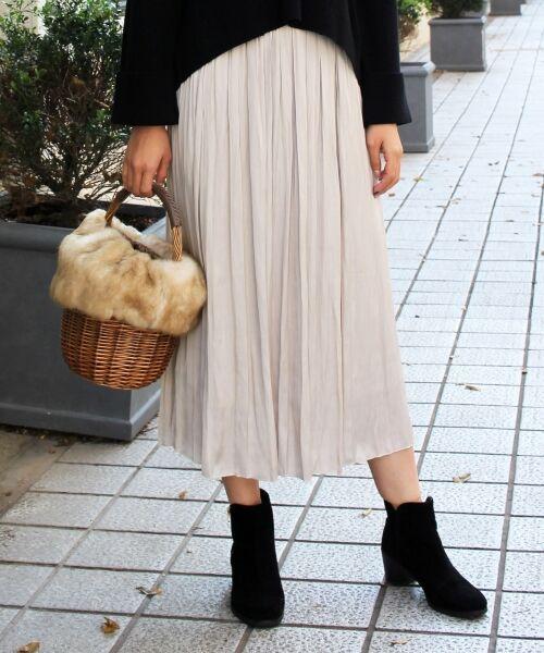 le.coeur blanc / ルクールブラン ロング・マキシ丈スカート | ヴィンテージサテンプリーツロングスカート(L/ベージュ)