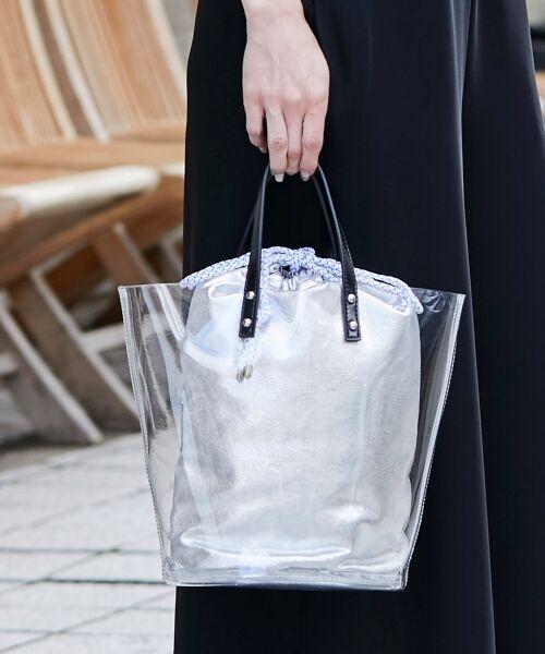 le.coeur blanc / ルクールブラン トートバッグ | カラーキャンバス×クリアトート(シルバー)