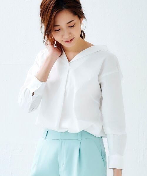 le.coeur blanc / ルクールブラン シャツ・ブラウス | 抜け衿ショールカラーシャツ | 詳細6