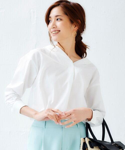 le.coeur blanc / ルクールブラン シャツ・ブラウス | 抜け衿ショールカラーシャツ(オフ)