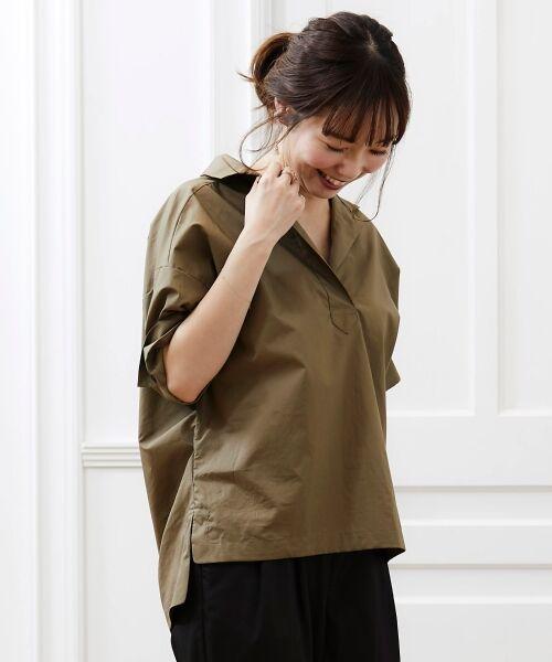 le.coeur blanc / ルクールブラン シャツ・ブラウス | 抜け襟オーバーシャツ(カーキグリーン)