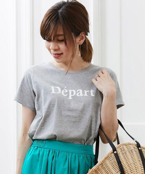 le.coeur blanc / ルクールブラン Tシャツ | クルーロゴプリントTシャツ(グレー)