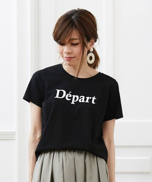 le.coeur blanc / ルクールブラン Tシャツ | クルーロゴプリントTシャツ(ブラック)