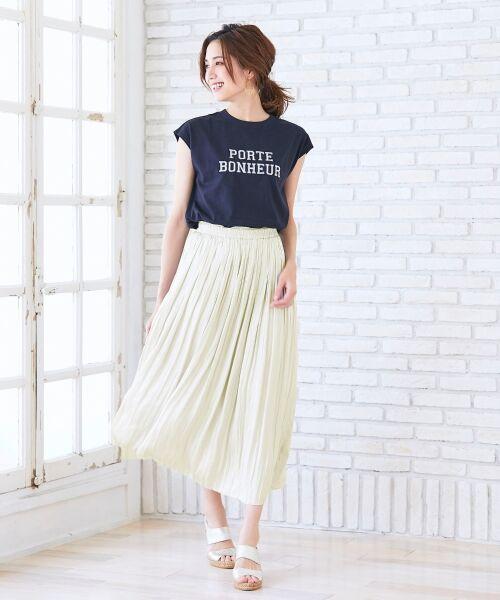 le.coeur blanc / ルクールブラン ロング・マキシ丈スカート   ヴィンテージサテンプリーツスカート(オフ)