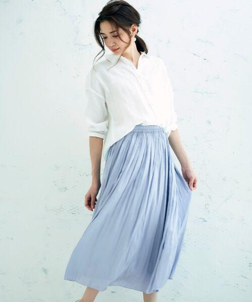 le.coeur blanc / ルクールブラン ロング・マキシ丈スカート   ヴィンテージサテンプリーツスカート(サックス)