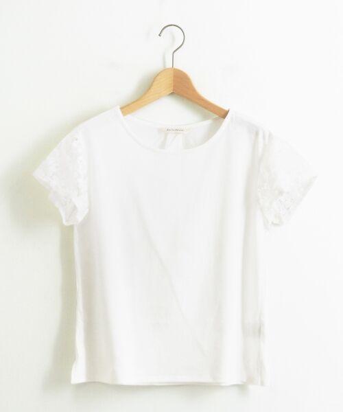 le.coeur blanc / ルクールブラン カットソー | フラワーレーススリーブカットソー(オフ)