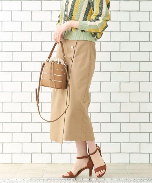 le.coeur blanc / ルクールブラン ミニ・ひざ丈スカート | コットンサテンラップライクタイトスカート | 詳細10