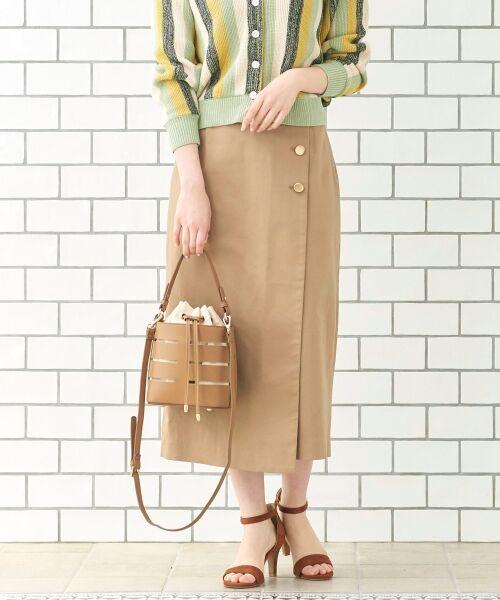 le.coeur blanc / ルクールブラン ミニ・ひざ丈スカート | コットンサテンラップライクタイトスカート | 詳細8