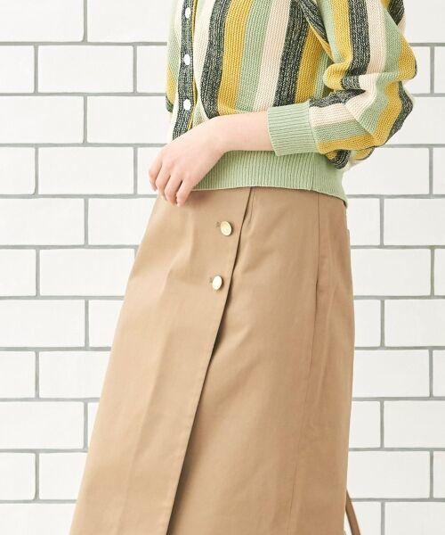 le.coeur blanc / ルクールブラン ミニ・ひざ丈スカート | コットンサテンラップライクタイトスカート | 詳細9