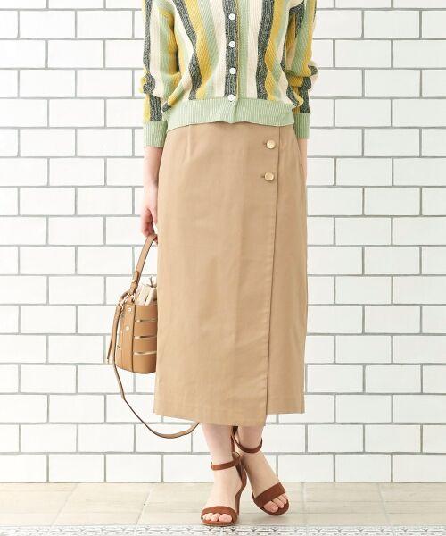 le.coeur blanc / ルクールブラン ミニ・ひざ丈スカート | コットンサテンラップライクタイトスカート(ベージュ)